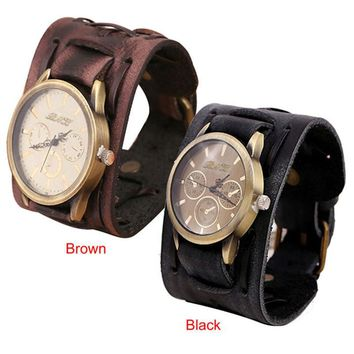 Antique copper Relogio masculino Retro Punk Rock Brown Big Wide Leather Bracelet Cuff Men Watch Cool men's watch erkek kol saati
