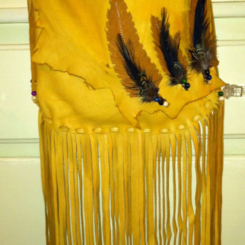 Bohemian Long Fringed Elk Skin Native American Feathered Style Bag