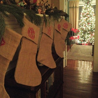 Monogrammed Burlap Christmas Stocking