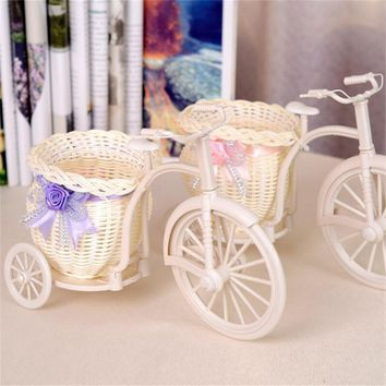 Large Size Flower Basket Vase Handmade Rattan Baskets Tricycle Bicycle Home Decor Garden Wedding Party Decoration