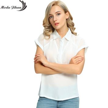 Moda Jihan Women's Chiffon Short Sleeve Button Down Casual Shirt Blouse Top Women Blouse For Office Wear Blusas Femme