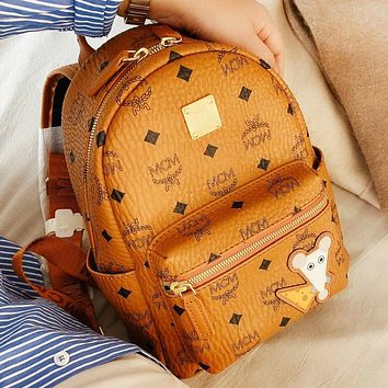 MCM New fashion more letter leather backpack bag book bag Brown