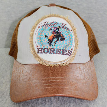 Hold Your Horses Patch on Double Toned Brown Leather Hat