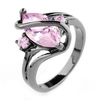 Royal Design Black Gold Filled Pink Sapphire Ring Lady's 10KT Finger Rings For Women Jewelry Size 6/7/8/9/10