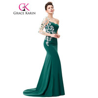 Grace Karin Asymmetrical Long Sleeve Evening Dress Appliques Lace Special Occasion Gowns Dark Green Mermaid Evening dresses