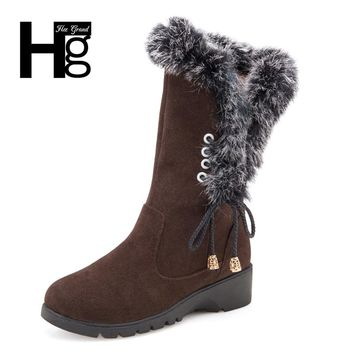 HEE GRAND Women Snow Boots High Quality Super Warm High Boot Plush Fur Warm Winter Lady Girl Black Brown Lace up Shoes XWX6207