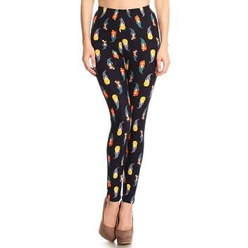 Women's Plus Little Mermaid Pattern Printed Leggings - Blue Yellow