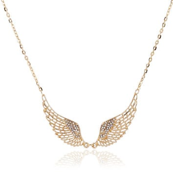 Women Fashion Angel Wing Crystal Necklace Choker 2016 New Gold Silver Plated Charming Maxi Pendant Necklace Collier Femme