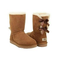 Tagre UGG:: bow leather boots boots in tube