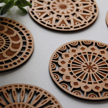 Geometric Wood Cut Coasters - Laser Cut Adler Wood Coasters - Set of 5