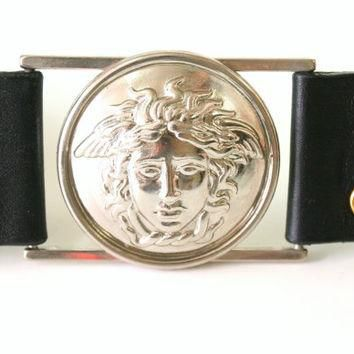 Authentic Gianni Versace Italy Medusa Leather vintage Belt