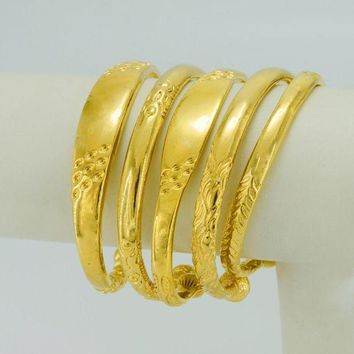 DCCKFV3 Anniyo Embossing Hard Bangle for Women,Trendy Wedding Gifts Gold Color and Copper Jewelry #002910