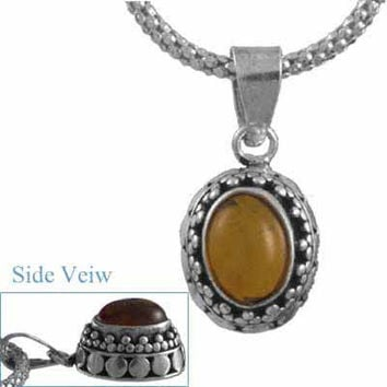 Sterling Silver .925 Bali Bead Genuine Amber Stone Pendant