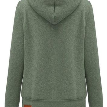 Green Badge Drawstring Cowl Neck Vogue Hooded Casual Pullover Sweatshirt Hoodie Sale