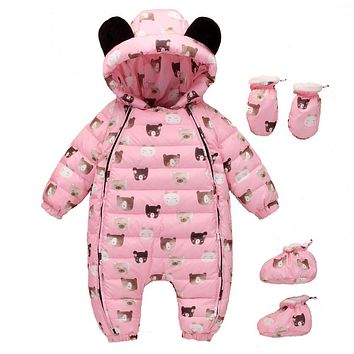 Baby clothing sets infant Boy Thick Jumpsuit baby girl Snowsuit Newborn Clothes sets Down romper+shoes+gloves