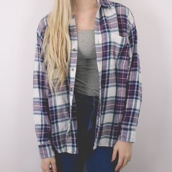 Vintage Maroon and White Plaid Grunge Flannel Shirt