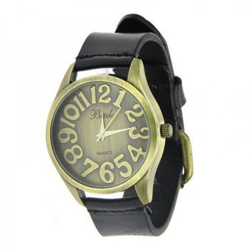 Old Fashion Watch with Cow Leather Belt