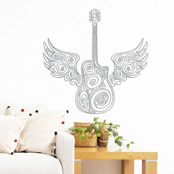 Wall Decal Vinyl Sticker Decals Art Home Decor Mural Guitar Wings Music Electro Jazz Musical Instrument Recording Studio Bedroom Dorm AN231