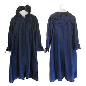 Vintage Women Rain Coat Women Raincoat Spring Coat Light Coat Long Coat Blue Coat Hooded Coat Women Coat Swing Coat