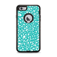 The Teal and White Floral Sprout Apple iPhone 6 Plus Otterbox Defender Case Skin Set