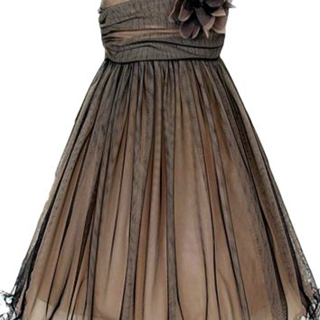 (Sale) Champagne & Black 2 Layer Mesh Overlay Girls Occasion Dress with Ruche Bodice (Girls 2T - Size 14)