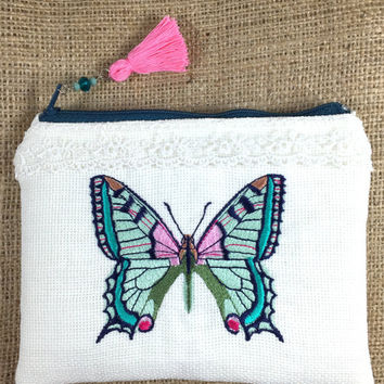 Butterfly Silk Embroidered Zippered Pouch with Tassel, Butterfly Purse, Embroidered Make up bag,Fabric Clutch, Zipper Pouch, Coin Purse