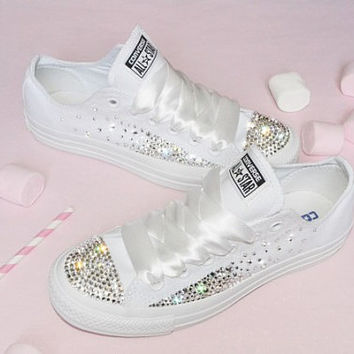 Customised Crystal White Low Top All Star Converse Canvas Blinged Crystal Sides & Toes White Ribbon Custom Order Wedding Shoes Adult Womens