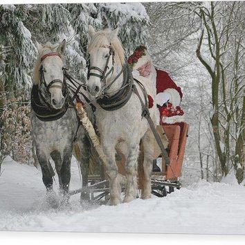 Santa Sleigh With Horses - Wood Print