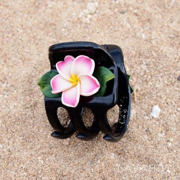Plumeria Pink Hawaiian Flower Hair Claw