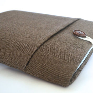 "Unisex 13 inch Laptop Sleeve Laptop Case 11.6"" 14"" 15.6"" inch Computer Sleeve Custom Size Chromebook available - Brown Herringbone"