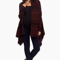 Burgundy-Black-Tribal-Knit-Maternity-Cardigan
