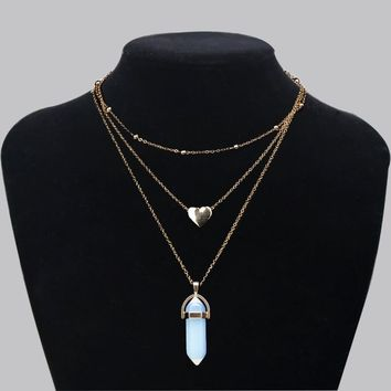Fashion Punk Style Natural Lucky Stone Heart Necklace For Lovely Gril Birthday Party Valentine's Day Mother's Gift Energy Stone