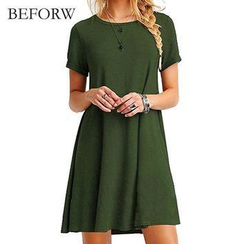 Solid Simple Short Sleeves Dress Vestidos