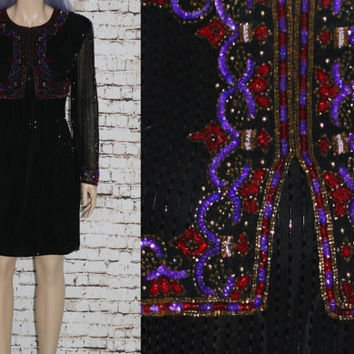 90s Cocktail Dress Long Sleeves Silk Beaded Black Jewel Tone Wine Purple India Formal Party Prom Grunge Hipster Gypsy Midi 80s L M