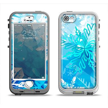 The Winter Abstract Blue Apple iPhone 5-5s LifeProof Nuud Case Skin Set