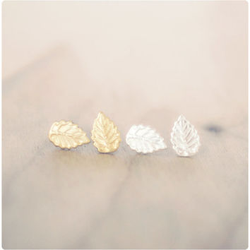 Tiny Leaf Earrings - Sterling Silver or Brass - Leaf Post Earrings