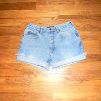 Custom Denim Cut Offs - 90s Light Wash High Waisted Jean Shorts - Cut Off/Frayed/Distressed Short Shorts by Timberland Misses Size 11/12 14