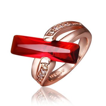 Rose Gold Plated Ruby Horizontal Center Ring
