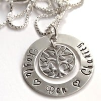 Family Tree with Circle of Children's Names, Hand Stamped Sterling Silver Necklace