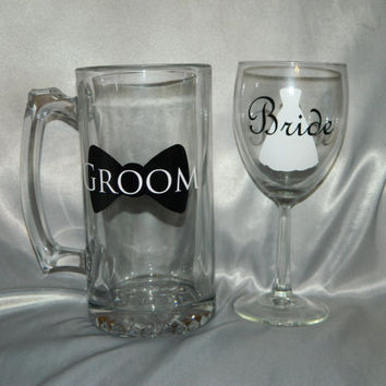 Bride wine glass and groom beer mug for the perfect wedding toast for the Bride & Groom CUSTOMIZED weddings