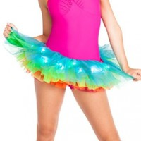 Adult Light Up Neon Rainbow Tutu,A1840,multi-colored,One-Size