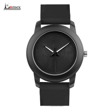 Gift Enmex creative style lady wristwatch black 3D vortex face creative design silicone band Luminous brief casual quartz  watch