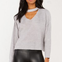 V Neck Sweater in Grey