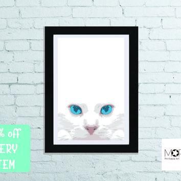 "Cat Printable Art for instant download. Animal Original Print Decoration Cats gift Frame Home Decor letter 8.5""x11"" tabloid 11""x17"""