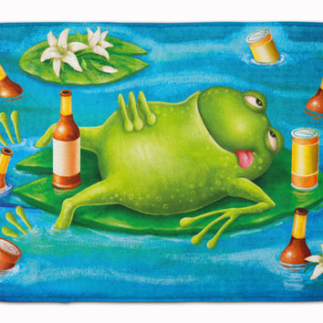 Frog Drinking Beer Machine Washable Memory Foam Mat APH0093RUG