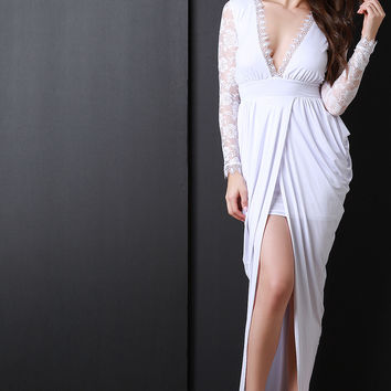 Lace Sleeves Tulip Maxi Dress