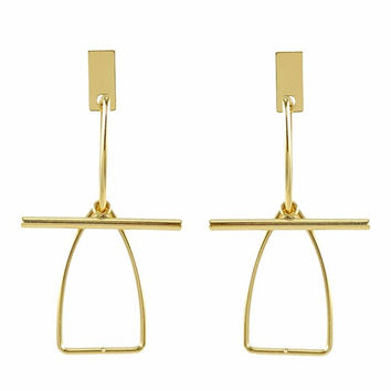 Gold Bird Bar Drop Earrings