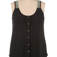 Multi color Embroidered button down plus size tank