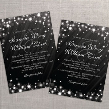 DIY Printable Wedding Invitation Card Template | Editable MS Word file | 5 x 7 | Download | Winter White New Years Heaven Sparkles Black