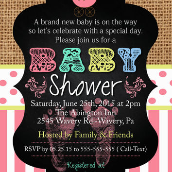 Any Occasion Baby Girl Shower Invitation Burlap Chalkboard Mint Pink Turquoise BABY FEET Baby Sprinkle Sip n See  Birthday invititation